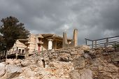 picture of minotaur  - Minotaur horns at Knossos Archeological Site in Crete Greece - JPG