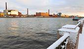 foto of sleet  - Embankment of the Neva river in St - JPG