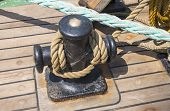 pic of bollard  - bollard of a boat on a sailing - JPG