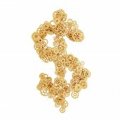 pic of gold tooth  - gold gears in form dollar on white background - JPG
