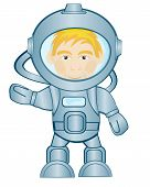 pic of spaceman  - Spaceman in space suit on white background is insulated - JPG