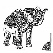 image of mehendi  - Elephant with a traditional pattern in the style of mehendi - JPG