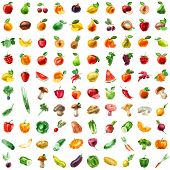 foto of tropical food  - Fruit and Vegetables icon set - JPG