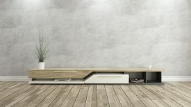 pic of plinth  - tv stand with concrete wall and wooden parquet background for design - JPG