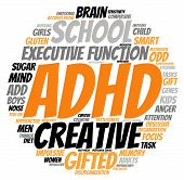 image of prone  - ADHD circle shaped word cloud on a white background - JPG
