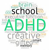 stock photo of prone  - ADHD circle shaped word cloud on a white background - JPG