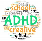 pic of prone  - ADHD circle shaped word cloud on a white background - JPG