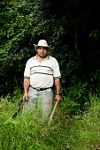 foto of vaquero  - Costa Rican ranch hand with a machete - JPG