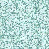 image of backround  - Vector green floral swirls seamless pattern backround graphic design - JPG
