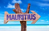 picture of mauritius  - Mauritius wooden sign with beach background - JPG