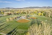 foto of collins  - aerial view of a local public park with baseball fields in Fort Collins - JPG