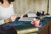 stock photo of entrepreneur  - Working at home concept - JPG