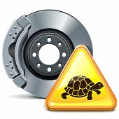 picture of truck-stop  - Disk brake with yellow turtle sign isolated on white background - JPG