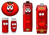 picture of juices  - Natural tomato juice cartoon characters including happy smiling glasses with red beverage - JPG