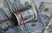 foto of american money  - Background with money american hundred dollar bills - JPG