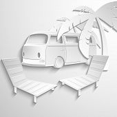 stock photo of hippy  - Hippie van travel beach adventure vacation flat 3d web isometric infographic concept vector - JPG