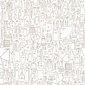 stock photo of sewing  - Seamless hand drawn doodle pattern with clothes and sewing patterns - JPG