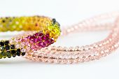 stock photo of bangles  - Necklace Diamond and Bangle colorful isolated on white background - JPG