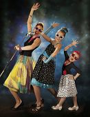 picture of rockabilly  - Rockabilly woman with her daughters singing in 1950 - JPG