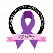 foto of lupus  - illustration of stylish purple ribbon for World Lupus Day in white background - JPG