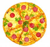 pic of hot fresh pizza  - hot fresh pizza with salami isolated on white background - JPG
