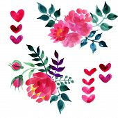 image of floral bouquet  - Set of beautiful watercolor flowers and leaves on a white background for your design - JPG