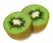 picture of section  - Juicy kiwi sliced to two sections isolated on white background - JPG