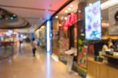 picture of department store  - Blur background photograph of long hallway in the department store building - JPG