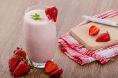 foto of mints  - Strawberry smoothie nice and clean fresh fruits leaf of mint - JPG