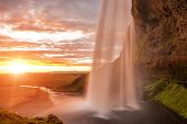 picture of incredible  - Seljalandsfoss is one of the most beautiful waterfalls on the Iceland - JPG