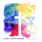 picture of golgotha  - colorful abstract background includes happy easter words - JPG