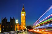stock photo of london night  - Clock tower in London at the night time - JPG