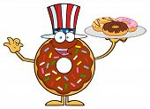 foto of donut  - American Chocolate Donut Cartoon Character Serving Donuts - JPG