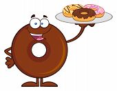 stock photo of donut  - Chocolate Donut Cartoon Character Serving Donuts - JPG