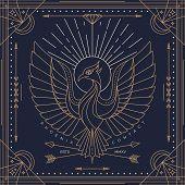 image of emblem  - Vintage thin line phoenix label - JPG
