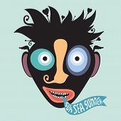 stock photo of clown face  - Black clown face silhouette with colored elements and banner - JPG