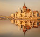 stock photo of hungarian  - View of hungarian Parliament building at twilight in Budapest - JPG