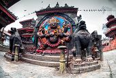 stock photo of pooja  - Bhairab statue god of destroy at Durbar Square in Kathmandu Nepal - JPG