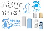 pic of milk products  - Cartoon blank dairy products cardboard packages characters with milk label templates and black outlines icons showing cute cow with milk products - JPG