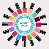 stock photo of nail salon  - Vector Set of colorful nail polish bottles - JPG