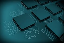 picture of microchips  - CPU Microchips as Circuit on a black background - JPG