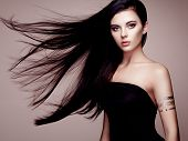 Fashion Portrait Of Elegant Woman With Magnificent Hair poster