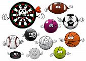Постер, плакат: Cartoon dartboard puck and sport balls