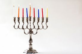 picture of hanukkah  - Lit Hanukkah menorah during the secound day of the Jewish holiday of Hanukkah - JPG