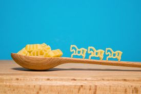 pic of hackney  - Pasta in the form of animals and a wooden spoon on a blue background - JPG