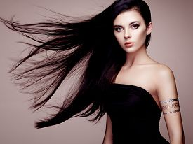 picture of flashing  - Fashion portrait of elegant woman with magnificent hair - JPG