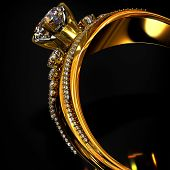 Engagement gold ring with brilliant gem. luxury jewellery bijouterie with gemstone diamond for wopma poster