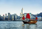 Traditional Chinese Sailing Ship In Rays Of Setting Sun poster