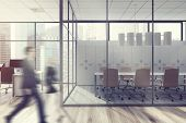 Business People In Office Lobby, Glass Wall poster