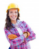 Young Attractive Female Construction Worker Wearing Gloves, Hard Hat and Protective Goggles Isolated poster